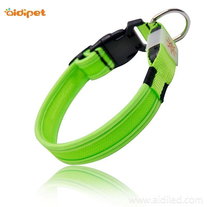Nylon Reflective Rechargeable Led Dog Collar AIDI-C26