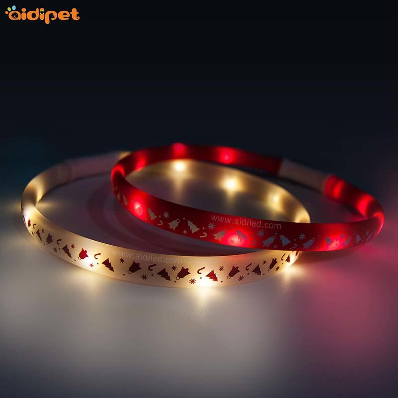Led Christmas printing dog collar