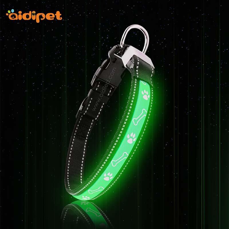 AIDI-C19 Custom Logo LED Flashing Dog Collar For Charms