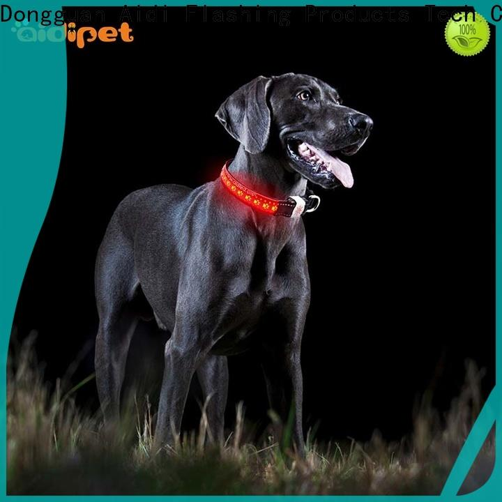 AIDI rechargeable glow in the dark dog collar design for outdoors