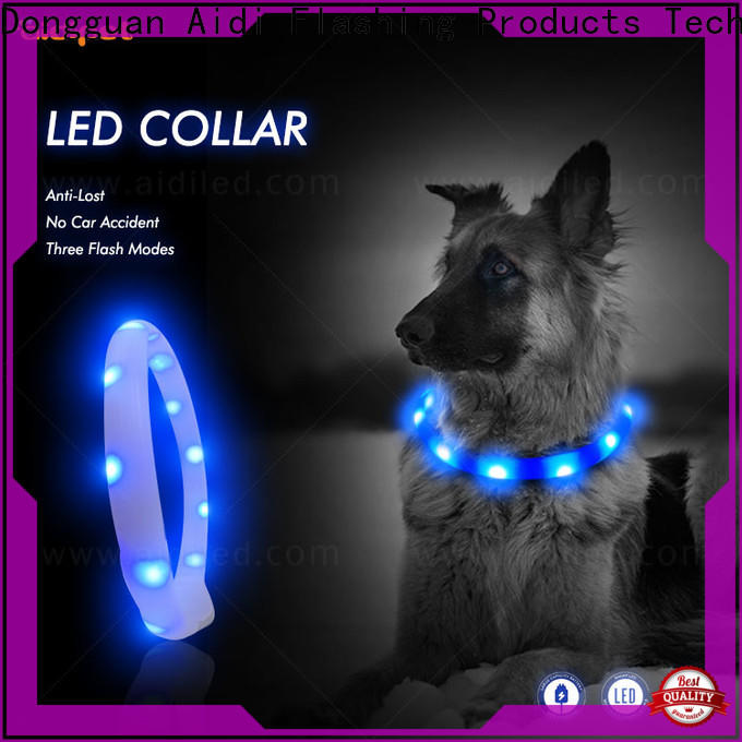 AIDI rechargeable personalized reflective dog collars with good price for walking