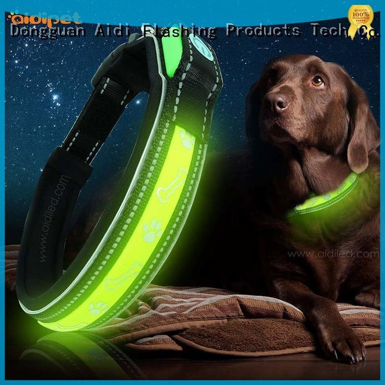 AIDI nylon led light up dog collar factory for walking