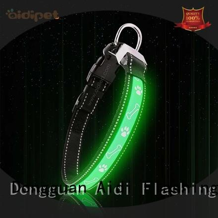 AIDI reflective rechargeable lighted dog collars with good price for pet
