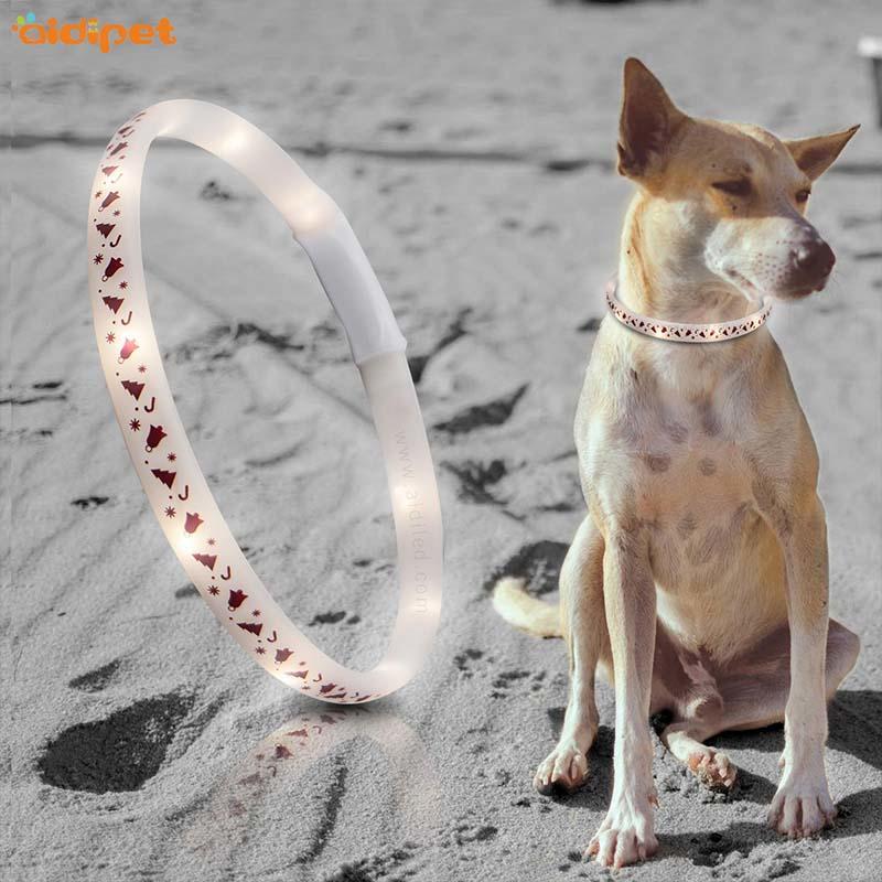 AIDI-Find Led Dog Collar Waterproof Led Christmas Printing Dog Collar-1