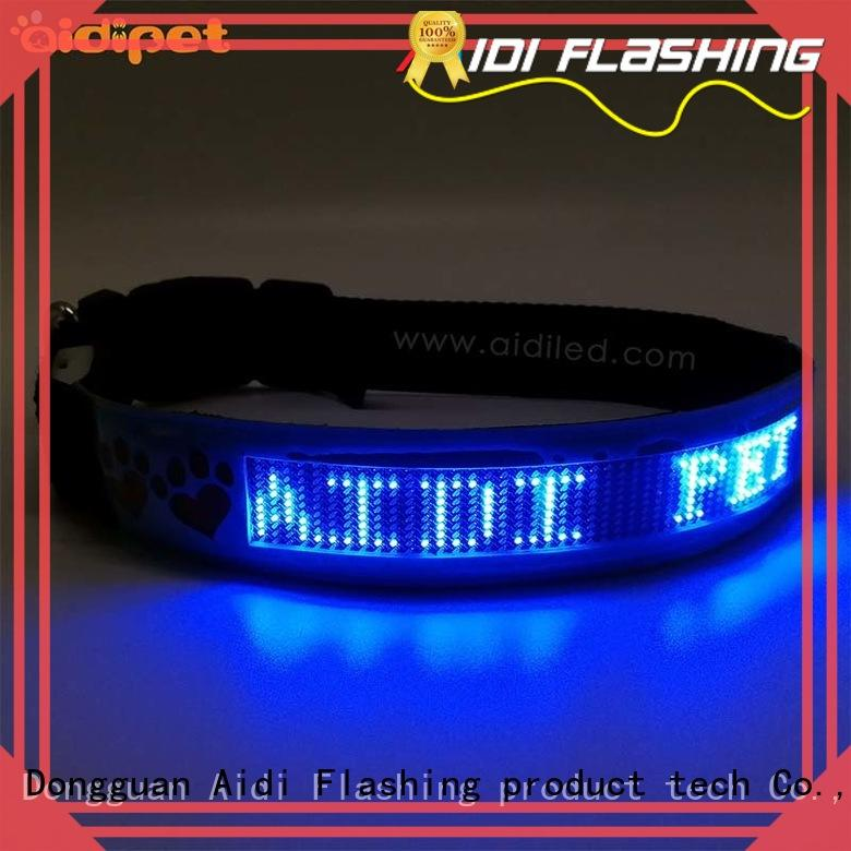 AIDI nylon rechargeable flashing dog collars factory for walking