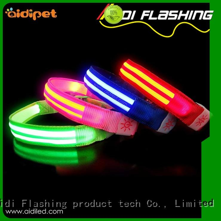 leash dog collars that light up in the dark flashing for walking AIDI