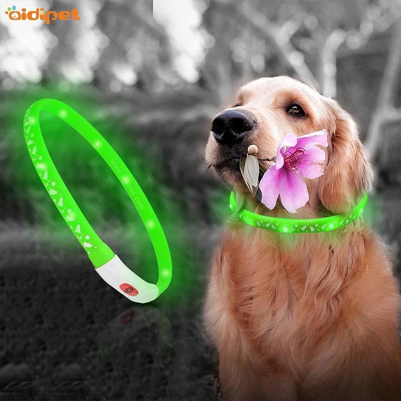 AIDI-Find Led Dog Collar Waterproof Led Christmas Printing Dog Collar