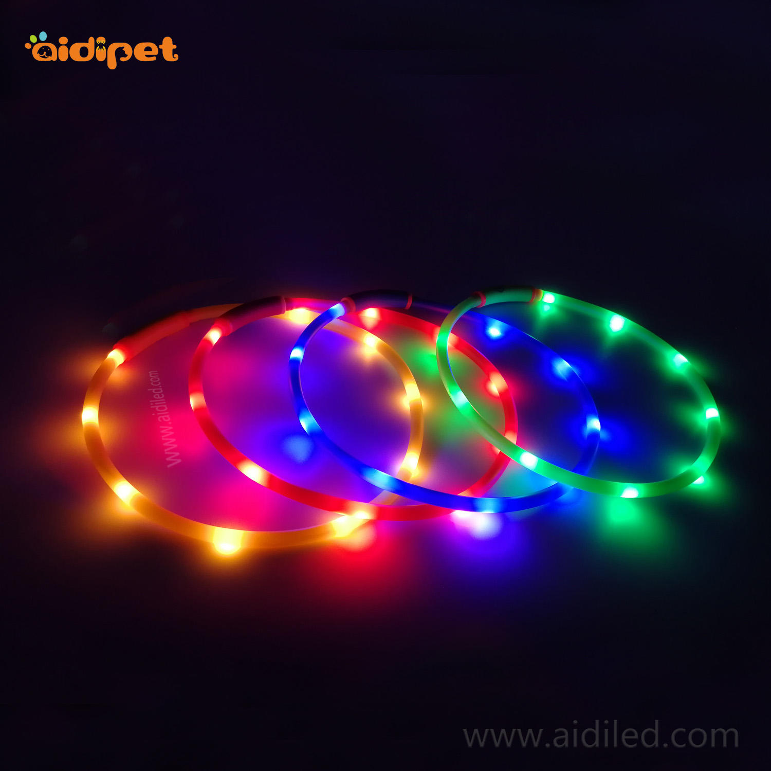 Rechargeable waterproof flashing dog collar AIDI-C3