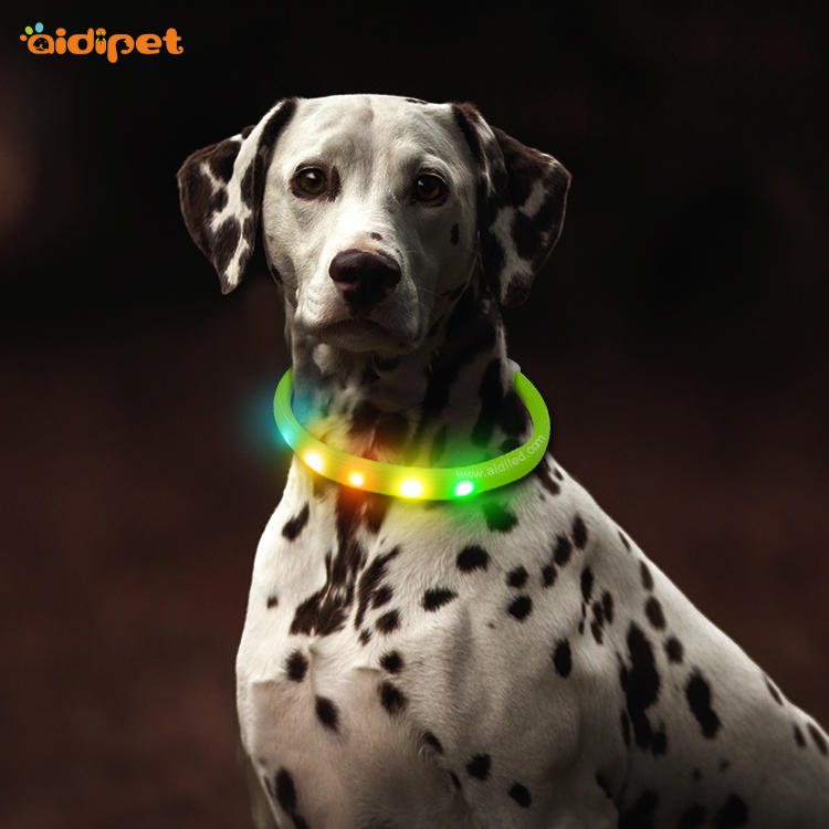 Nylon Fish Filament Rechargeable Led Light Up Dog Collar AIDI-C6S