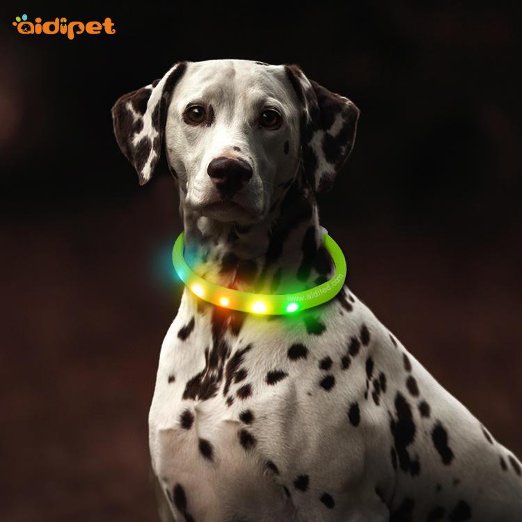 Nylon Fish Filament Rechargeable Led Light Up Dog Collar AIDI-C6S