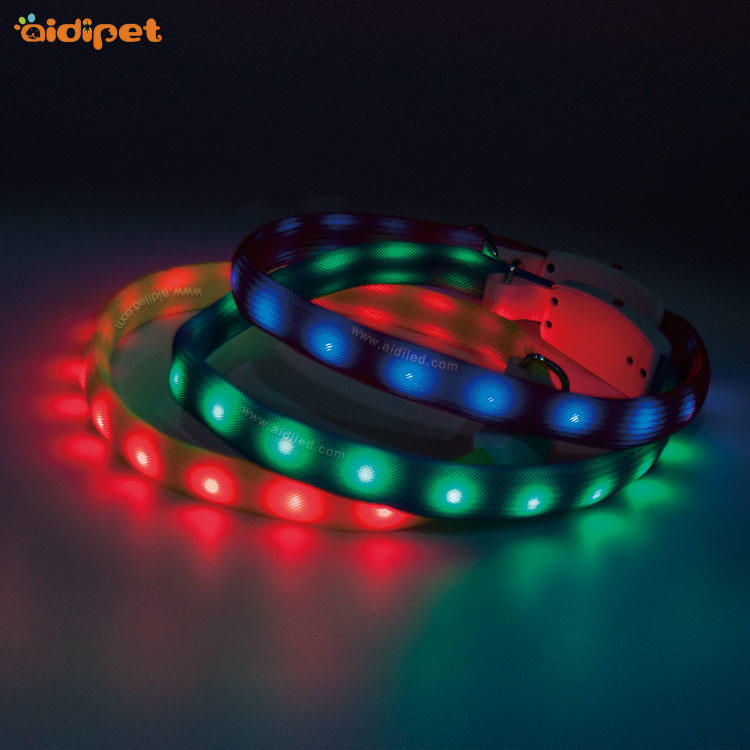 Nylon Filament Rechargeable Led Glowing Dog Collar