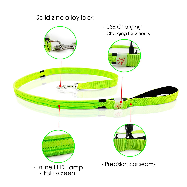 AIDI-Rainbow Light Nylon Rechargeable Led Dog Leash AIDI-L2-2