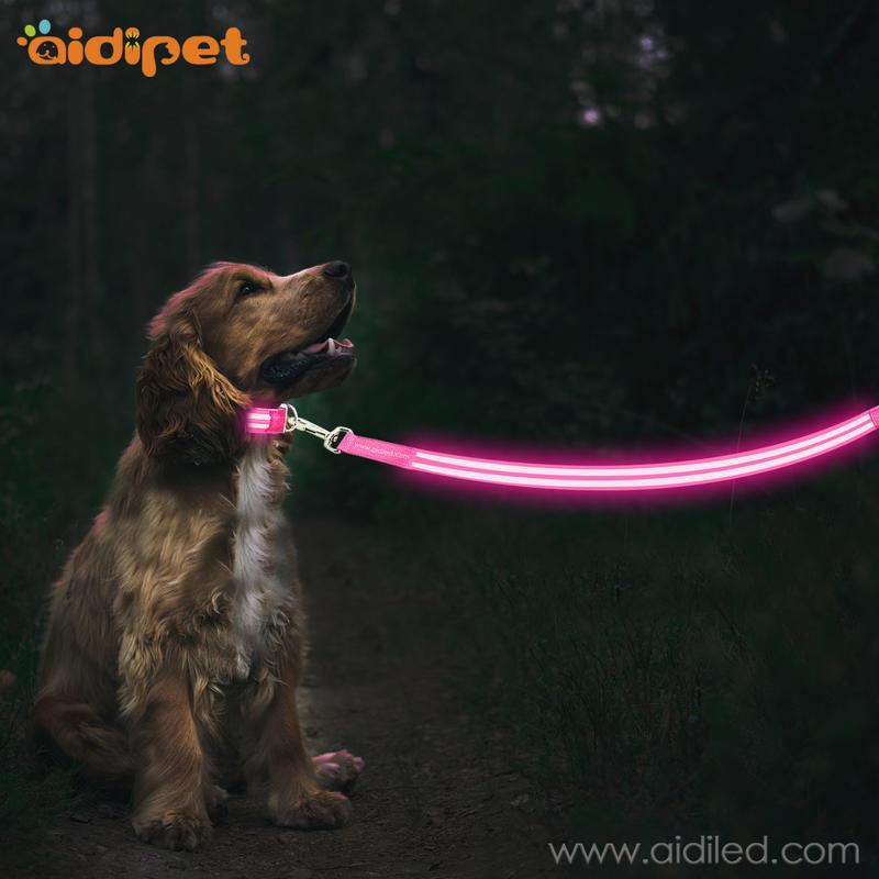 AIDI reflective led dog leash pvc for park