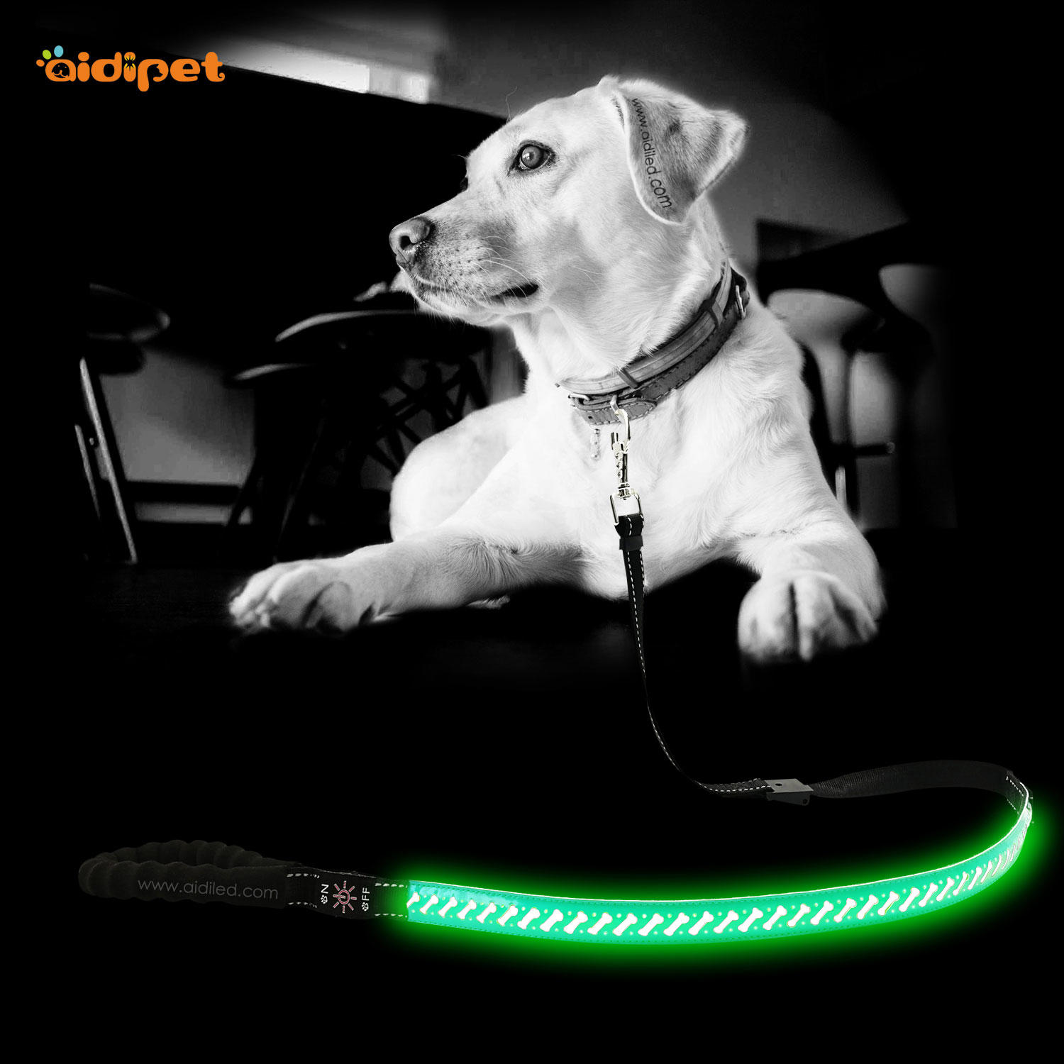LED PU Leather Dog Leash AIDI-L6