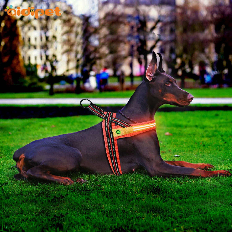 double led nylon dog harness manufacturer for park AIDI