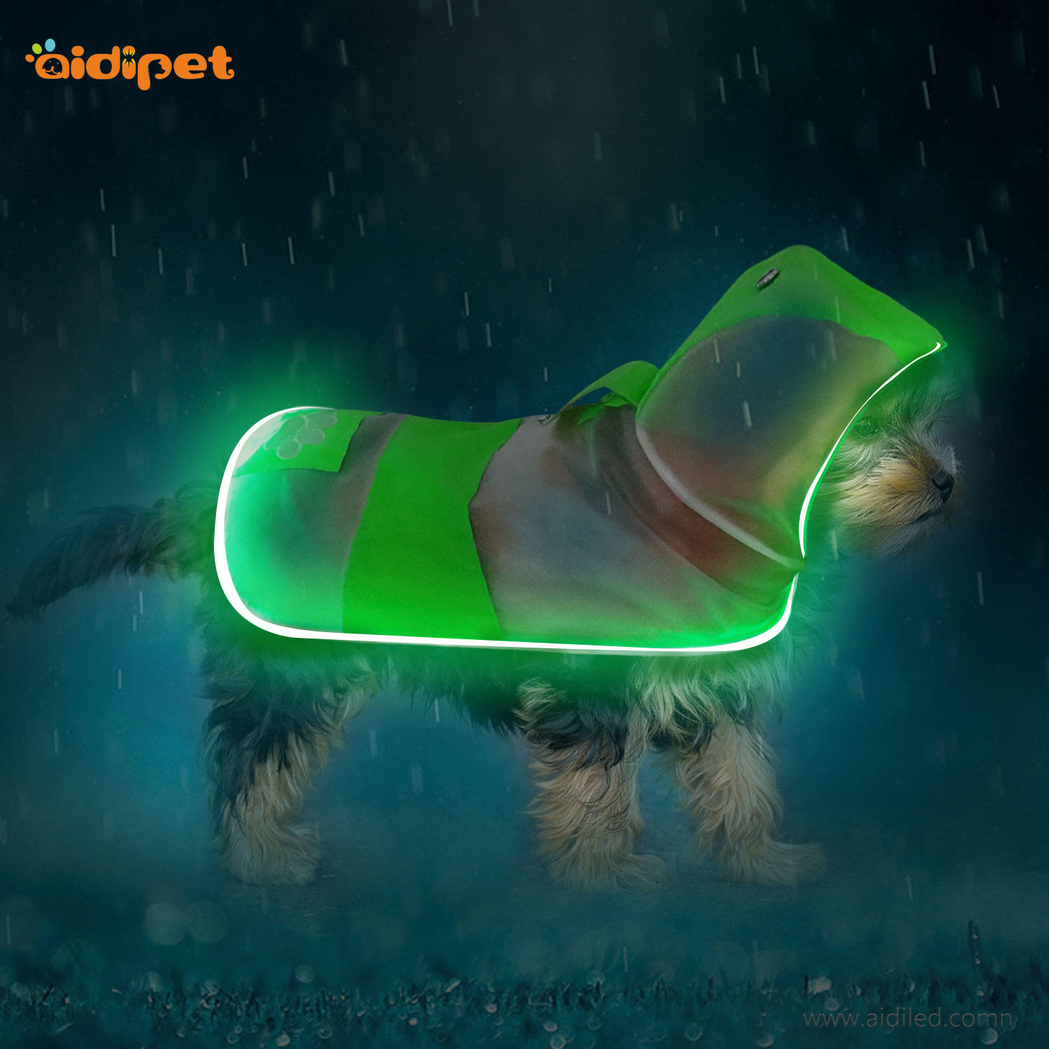 LED Dog raincoat  harness AIDI-H6