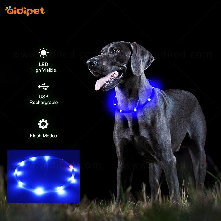 Rechargeable waterproof flashing dog collar AIDI-C3