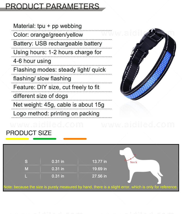 rechargeable best glow in the dark dog collar with good price for pet