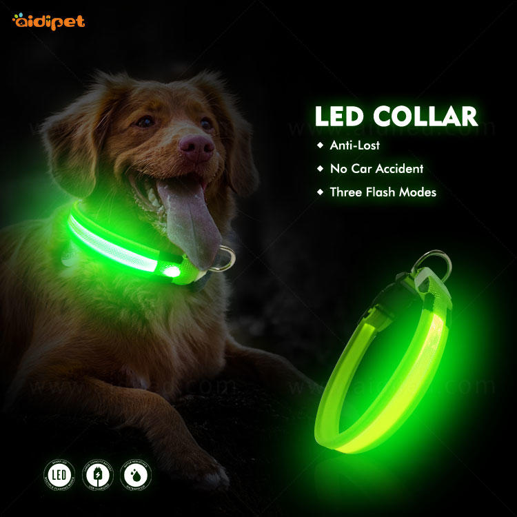 Nylon Reflective Rechargeable Led Dog Collar AIDI-C26