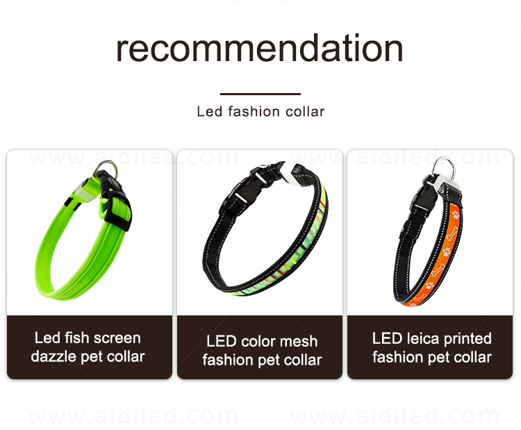 AIDI reflective rechargeable lighted dog collars with good price for walking-17