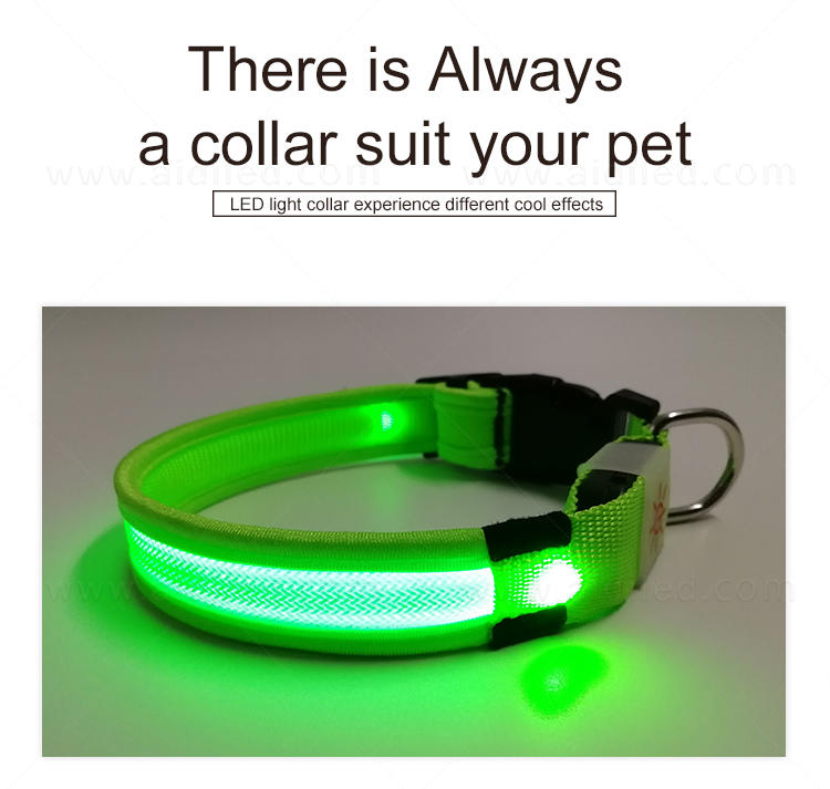 AIDI reflective rechargeable lighted dog collars with good price for walking