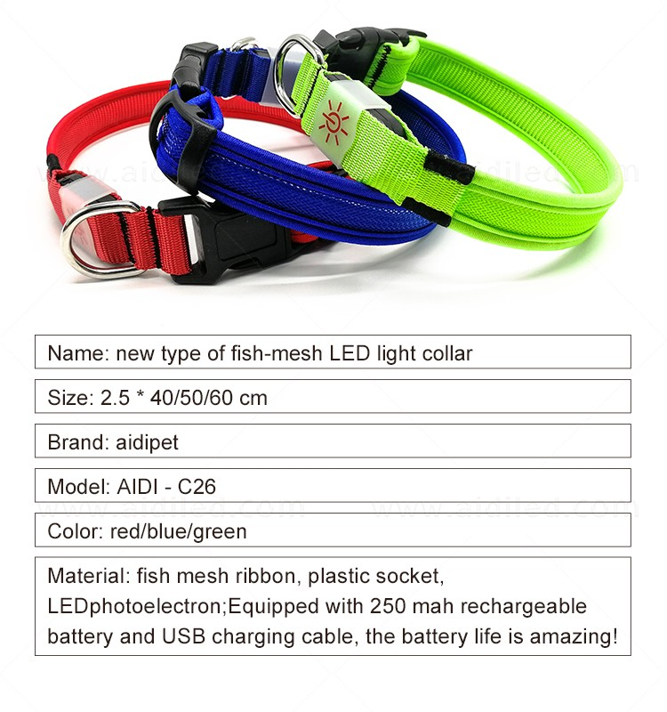 AIDI reflective rechargeable lighted dog collars with good price for walking-7