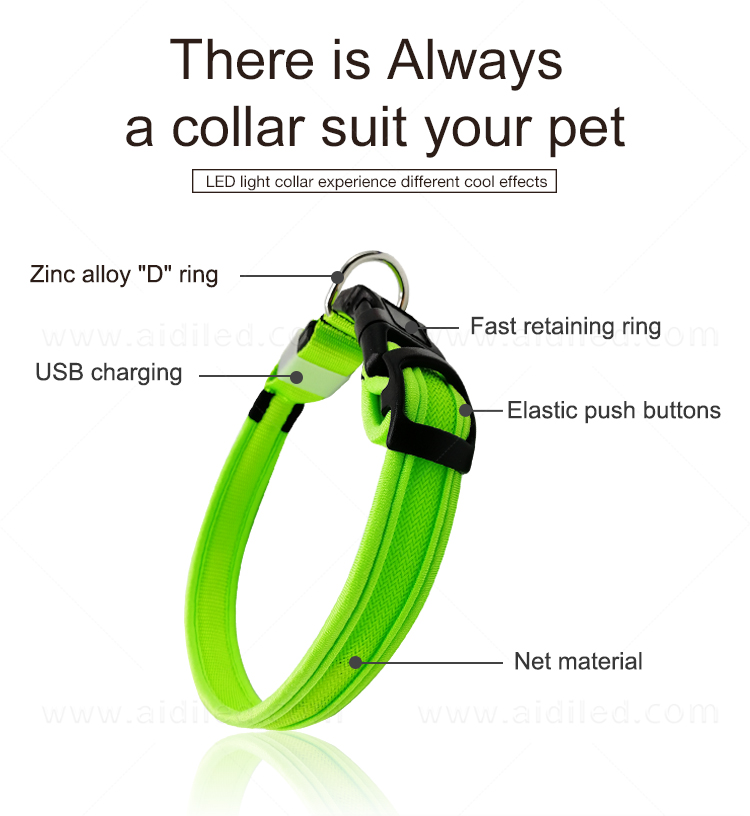 AIDI reflective rechargeable lighted dog collars with good price for walking-10