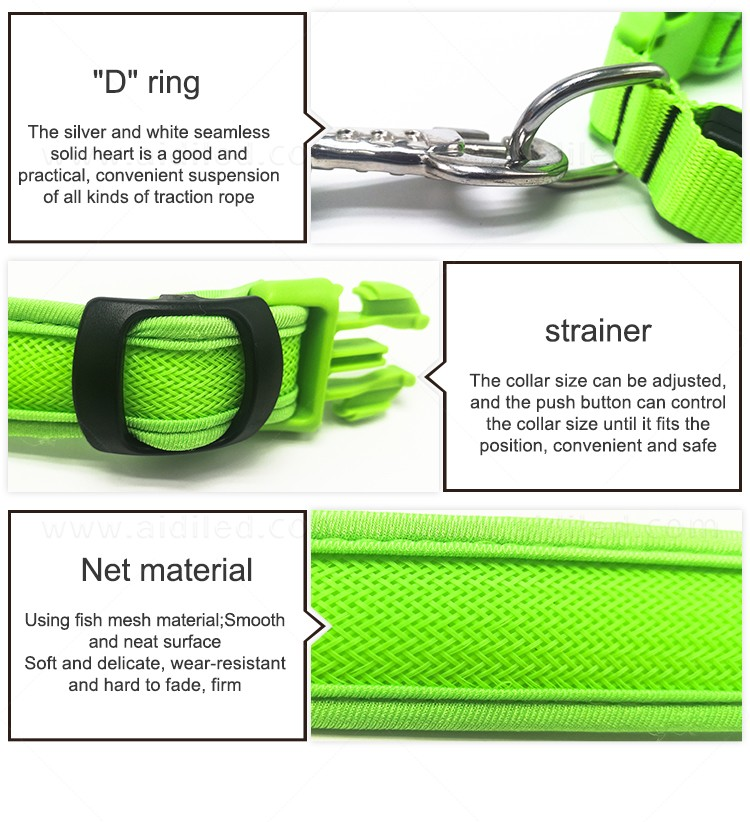 AIDI reflective rechargeable lighted dog collars with good price for walking-11