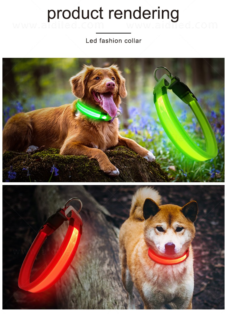 AIDI reflective rechargeable lighted dog collars with good price for walking-13