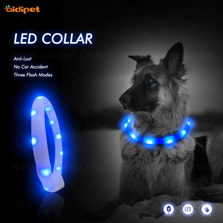 AIDI-C4 Silicone Waterproof Rechargeable Flashing Led Dog Collar