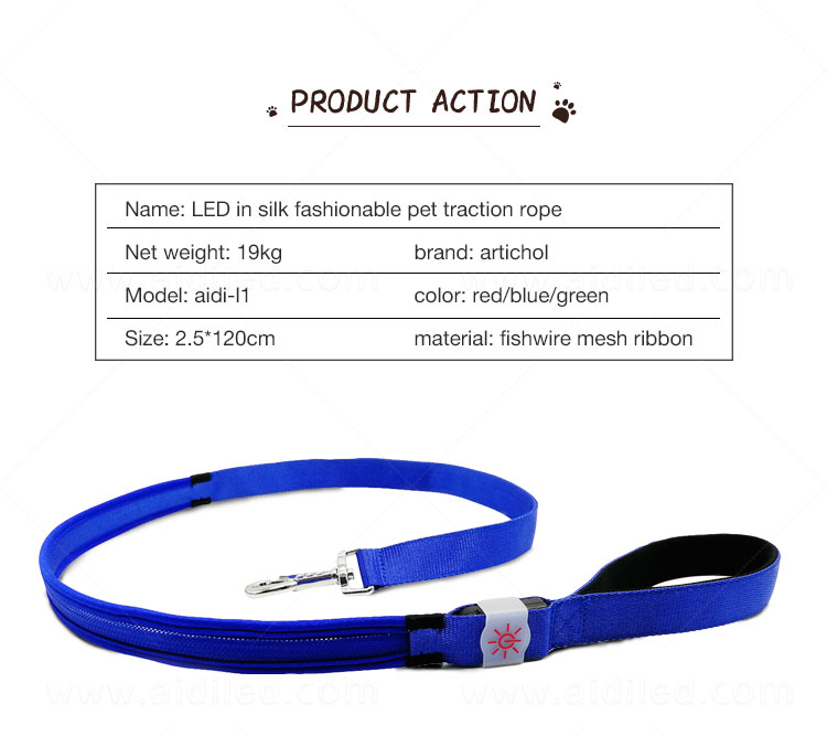 AIDI fishnet light up dog leash factory for pet-6