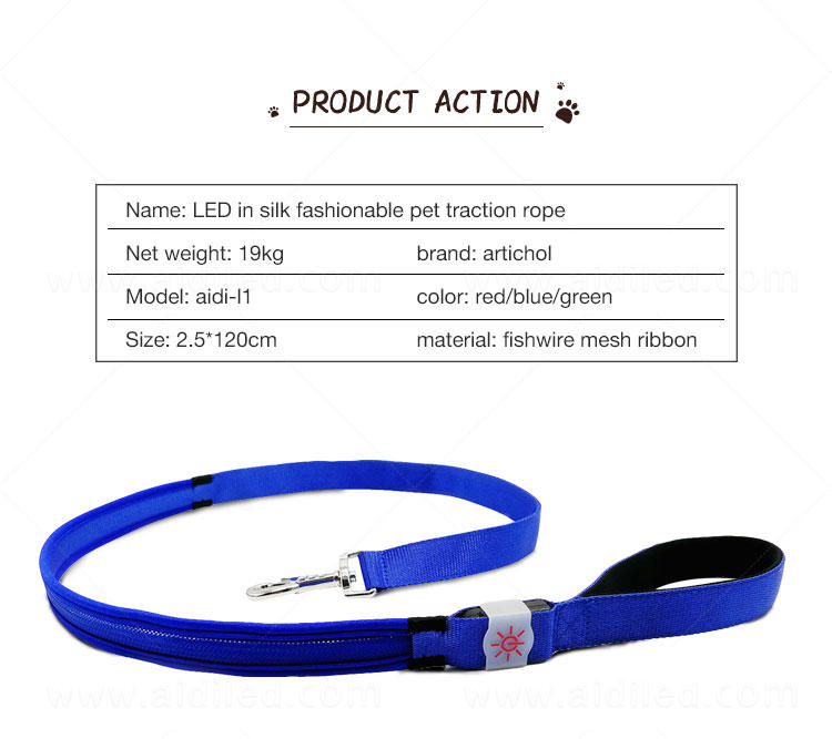 AIDI fishnet light up dog leash factory for pet