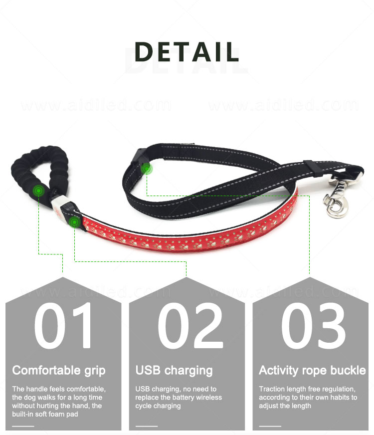 rechargeable light up dog leash inquire now for pet-11