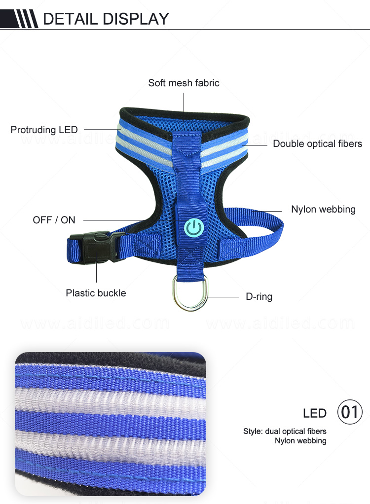 AIDI lighted dog harness manufacturer for pet-8