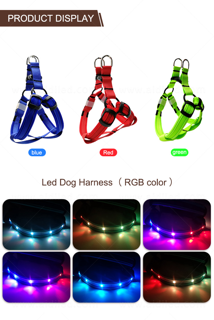 AIDI nylon glow in the dark dog harness customized for outdoors-10