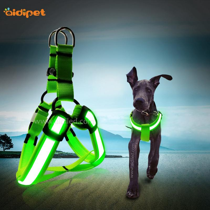 Fishing Net Reflective Rechargeable Led Dog Harness AIDI-H1