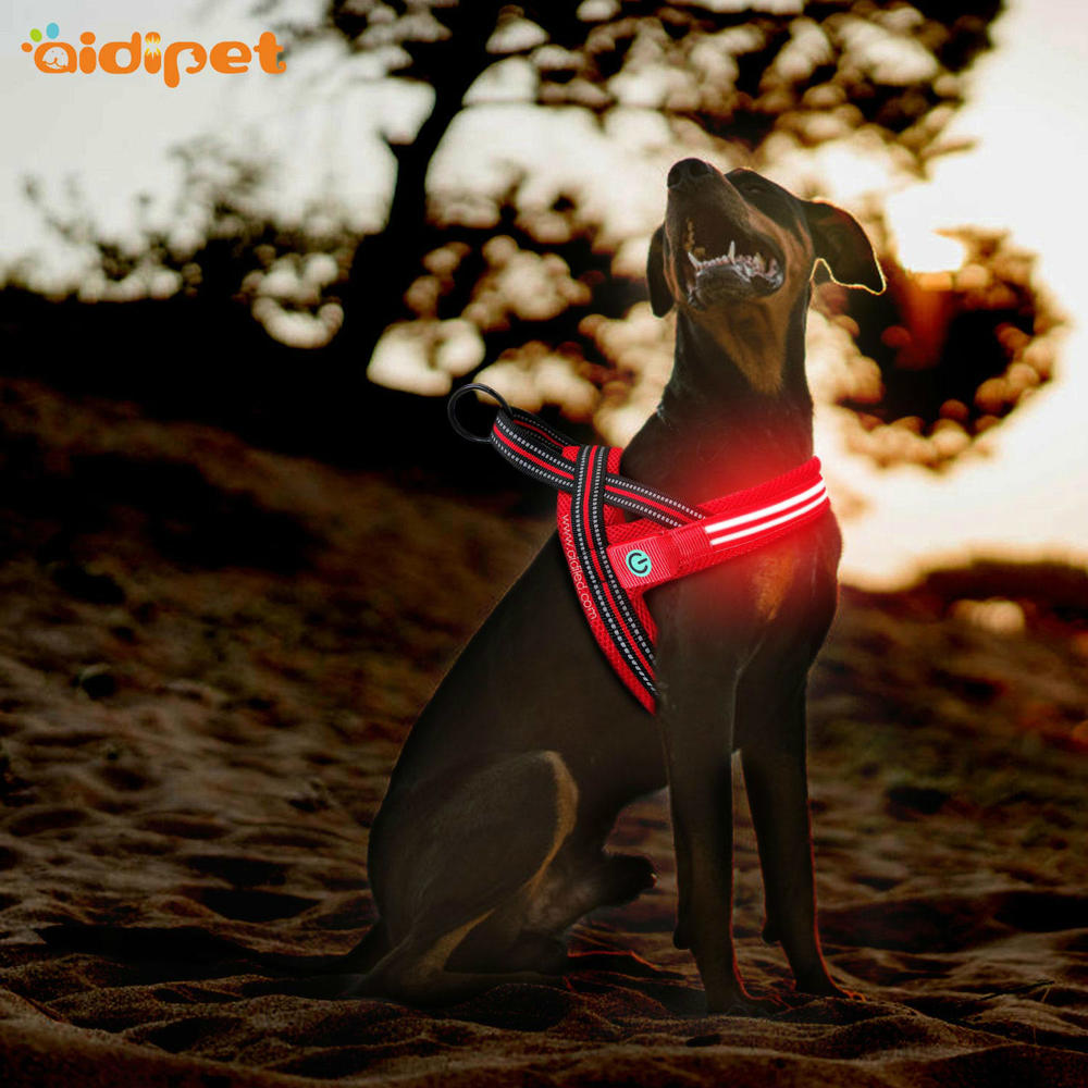 Illuminated  Dog Harness Vest, Double Fiber Nylon Mesh Led AIDI-H3