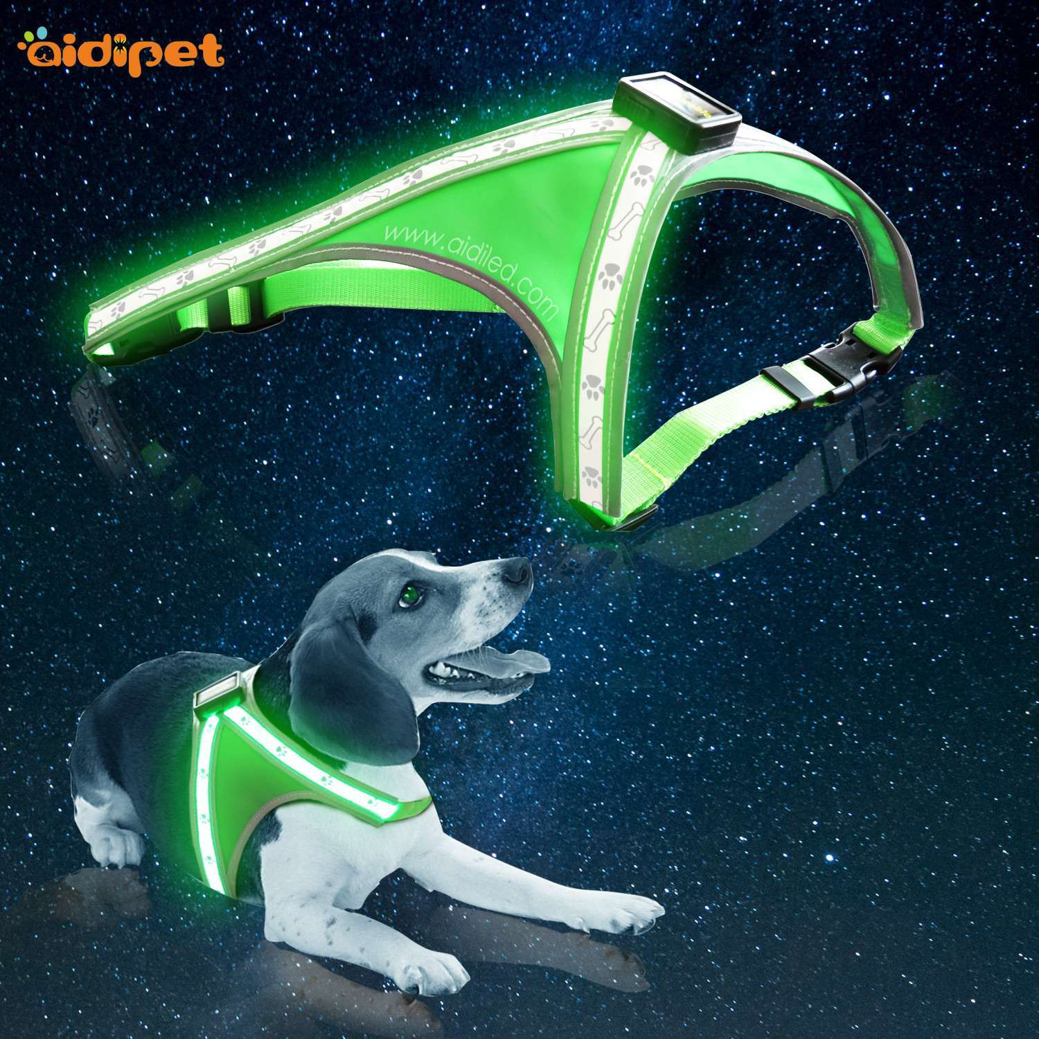 AIDI-H5 Led Dog Harness with Printing