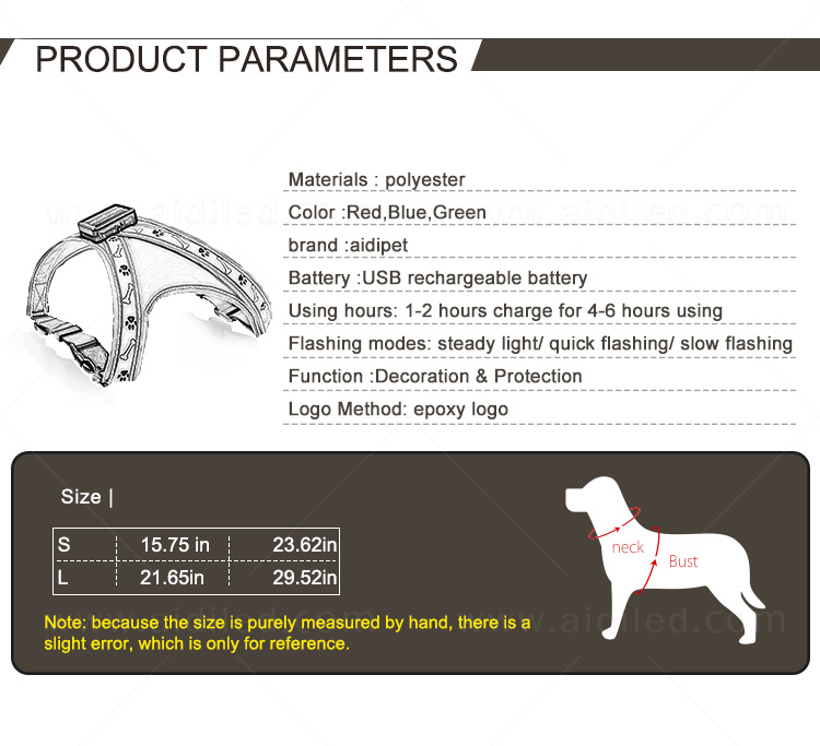 AIDI nylon light up dog harness manufacturer for pet-4