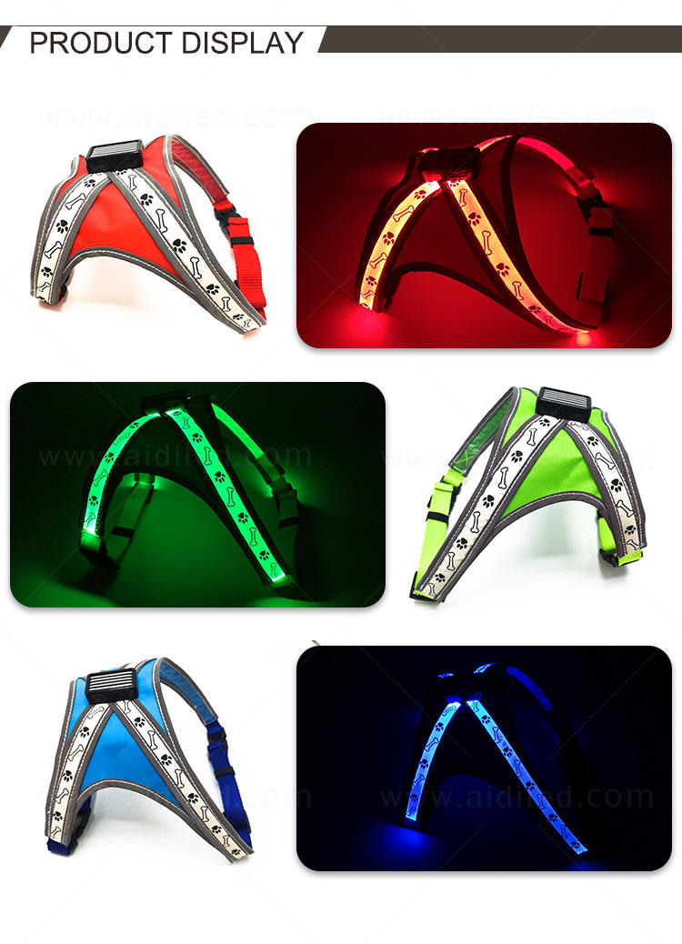 AIDI nylon light up dog harness manufacturer for pet