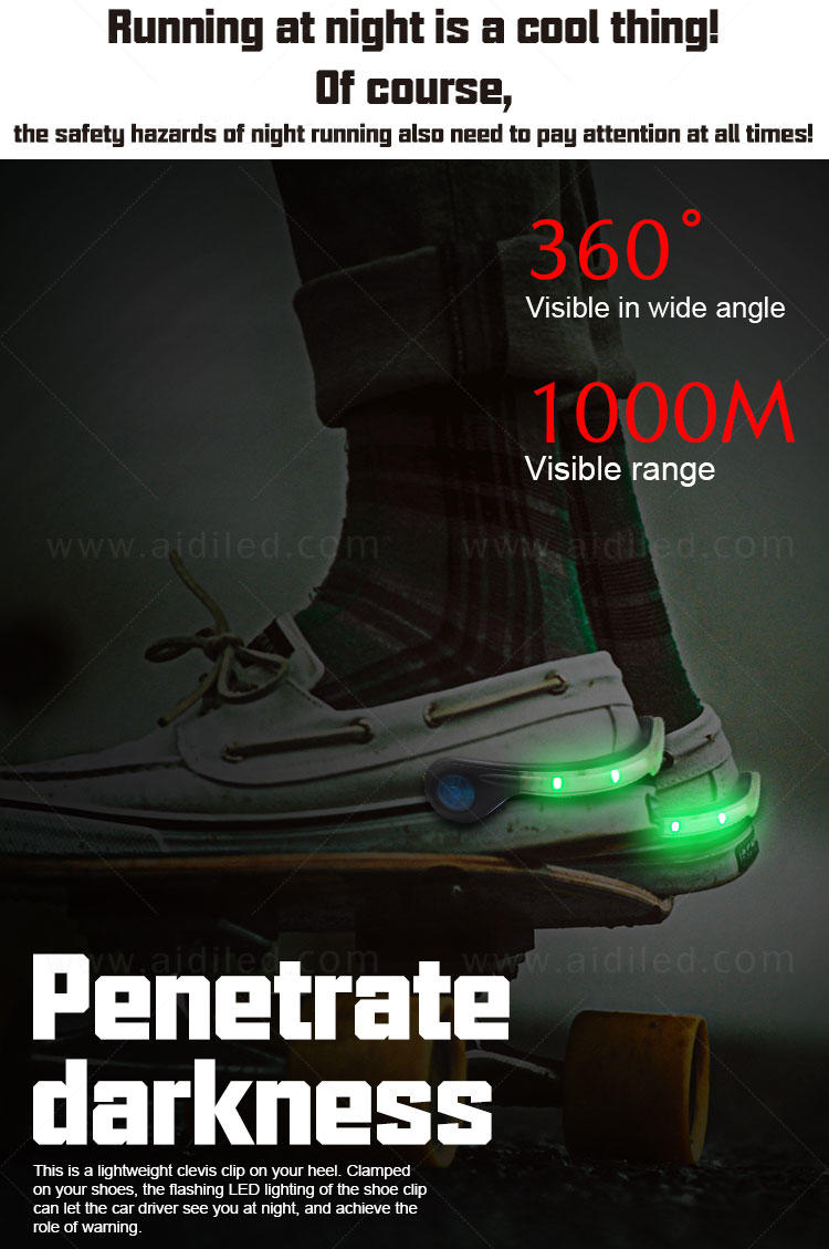 AIDI rechargeable clip on shoe lights with good price for kids