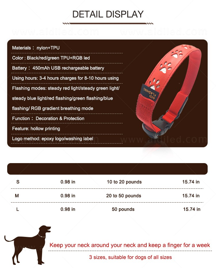 waterproof led pet collar light inquire now for walking-6