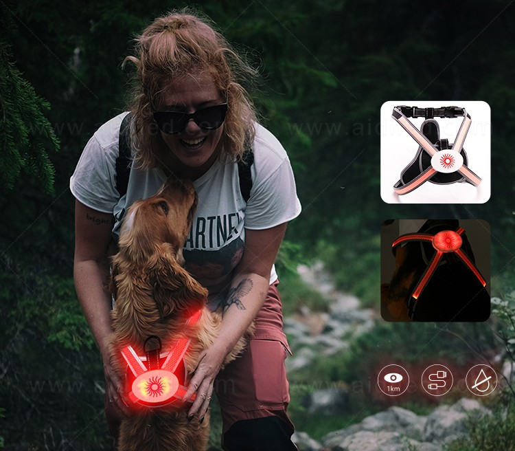 AIDI reflective light up dog harness customized for park-1