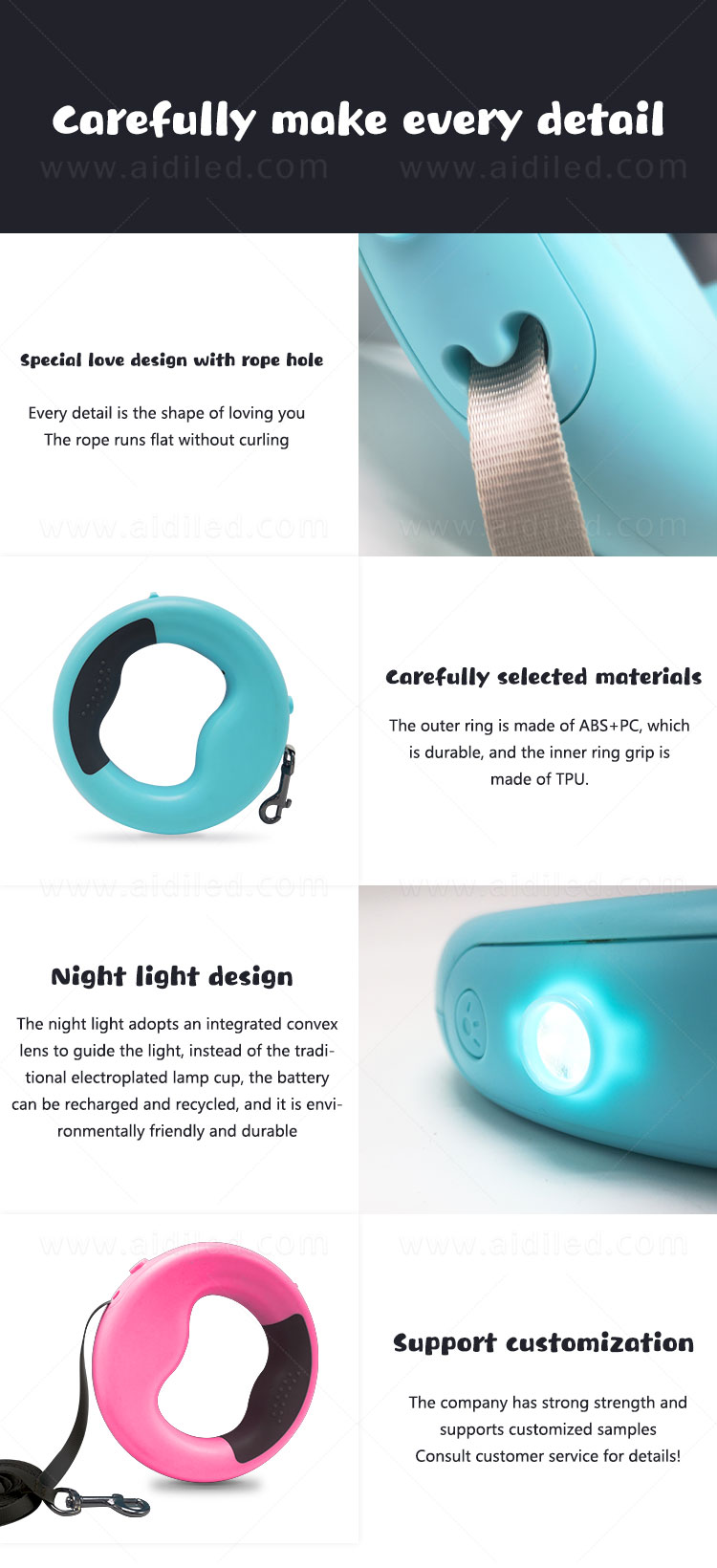 AIDI rechargeable lighted dog leash design for pet-9