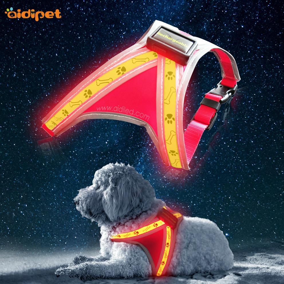 H5 Dog Bone Printing Pattern Led Dog Harness