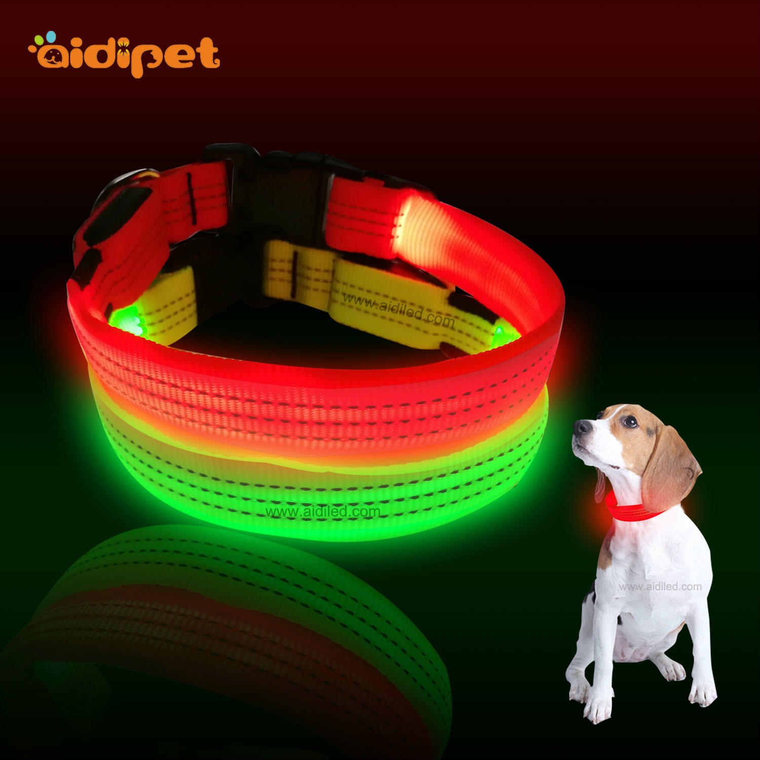 C13 Reflective led dog collar
