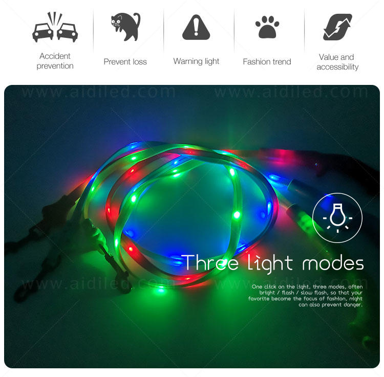 flat dog leash with flashlight with good price for walking-2