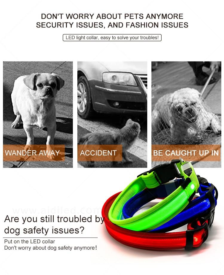 AIDI reflective rechargeable lighted dog collars with good price for walking-3