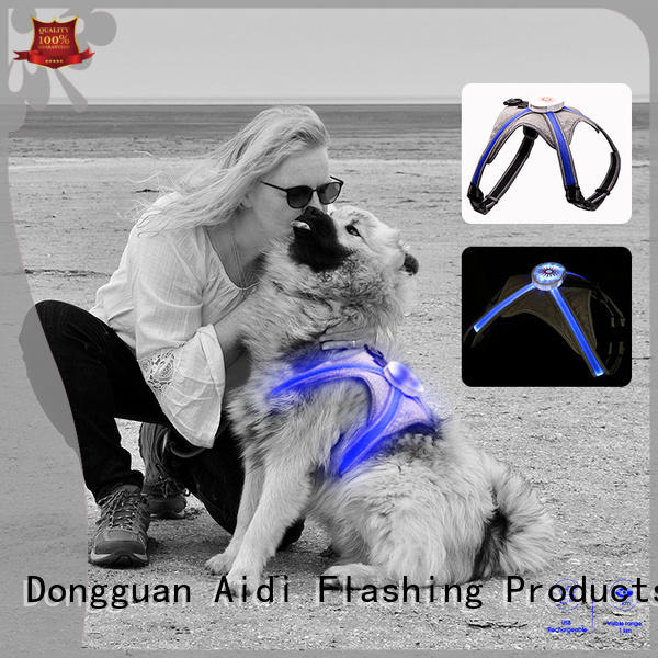 AIDI rechargeable glowing dog harness from China for pet