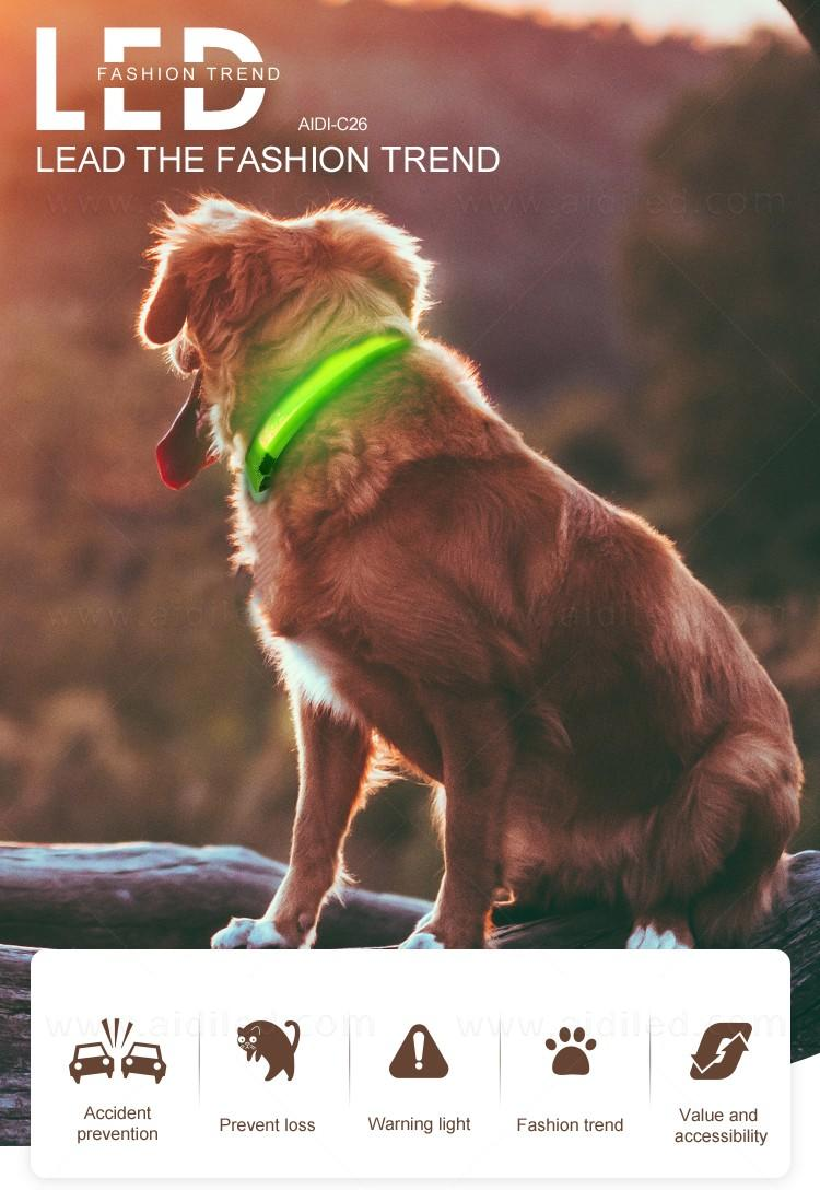 AIDI reflective rechargeable lighted dog collars with good price for walking-2
